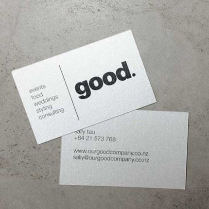 Business cards specialty stock silver sheen 285gsm reheart